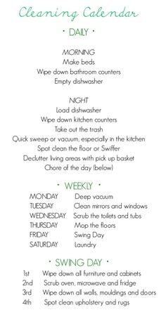 Finally, A Cleaning Schedule that I think I could stick with! Think it might help me be a better cleaner/organizer! House Cleaning Tips, Diy Cleaning Products, Cleaning Solutions, Spring Cleaning, Cleaning Hacks, Cleaning Schedules, Chore Schedule, Cleaning Checklist, Cleaning Routines