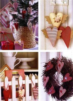 Sugestão de corações de tecidos em guirlandas, barbantes, na árvore, etc... Corações simples e alados