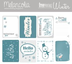 Free Winter Printable Project Life Journal Cards from Melancolia