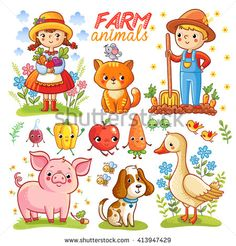 Farm Cartoon Set With Animals Vegetables And Characters Boy Girl Pig Goose Cat Dog Carrot Apple Radish Pepper Isolated On White Background