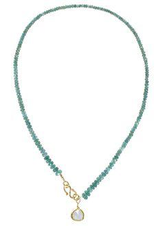 emerald necklace with 22k gold closure and aquamarine pendant