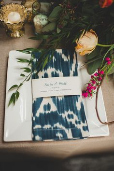 indigo ikat napkin, photo by Spindle Photography http://ruffledblog.com/the-notwedding-birmingham #weddingideas #patterns