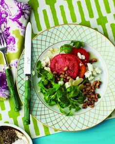 Black-eyed pea, tomato, and goat cheese salad