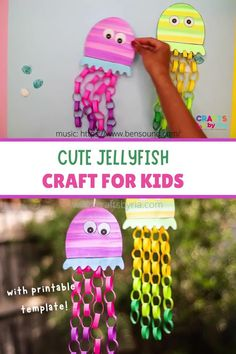 Cute paper jellyfish craft for kids-Step by step tutorial with printables