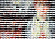 ' A reproduction of Edouard Manet's Bar at the Folies Bergere made entirely of old Pantone chips. Over 5,000 unused chips were painstakingly colour matched and and stuck down over four long nights, and acted as centre piece for a boozey party in our design studio. Created with Sam Hall, Alex Wooley, Amy Knowles and Andy Kidd. '