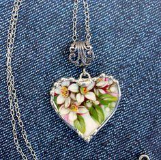 Broken China Jewelry China Heart Necklace by Robinsnestcreation1, $48.95