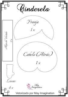 Molde Cinderela em feltro: Franja, Cabelo (atrás), luvas e alças do vestido.