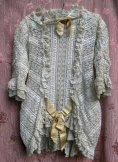 Vintage Victorian or Edwardian Child's White Lace Dress with Peach Satin Ribbons