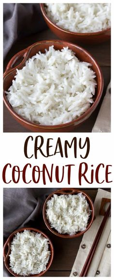 Coconut Rice - the easiest way to make the creamiest coconut rice that is just loaded with flavor! This coconut rice recipe is made at least once a week and goes so well with so many dishes! Definitely, a family friendly recipe everyone is sure to love! Side Dish Recipes, Rice Recipes, Indian Food Recipes, Asian Recipes, Whole Food Recipes, Vegetarian Recipes, Dinner Recipes, Cooking Recipes, Healthy Recipes