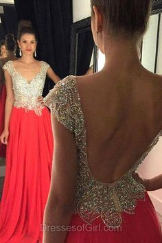 Beaded Prom Dresses, Chiffon Prom Dress, Red Evening Dresses, V Neck Party Dresses, Backless Formal Dresses