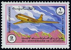 Stamp: Tupolev TU-104 (Afghanistan) (40th anniv of National Aviation) Mi:AF 1355,Sn:AF 1092,Yt:AF 1177 #colnect #collection #stamps