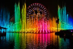 Best World of Color Viewing Spots & Photography Tips - World of Color is a fountain-based nighttime spectacular at Disney California Adventure in Disneyland Resort. World of Color: Celebrate is the new version Disneyland Photos, Disneyland Trip, Disneyland Resort, Disney Vacations, Colors Of The World, Disney California Adventure, California Camping, Disney Parque, Disney Tourist Blog