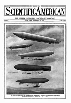 """Scientific American 1912-12-28, """"The relative sizes of the airships here pictured indicate the aerial strength in dirigibles of the leading European military powers. 'The Military Supremacy of the Air.' Germany, 20; England 3; France 16; Russia 10; Italy 7."""