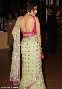 Bridal Choli Designs - Sophie in a fuschia pink low cut choli. Sari Blouse Designs, Choli Designs, Designer Blouse Patterns, Saree Dress, Saree Blouse, Sexy Blouse, Sleeveless Blouse, Khadi Saree, Work Blouse