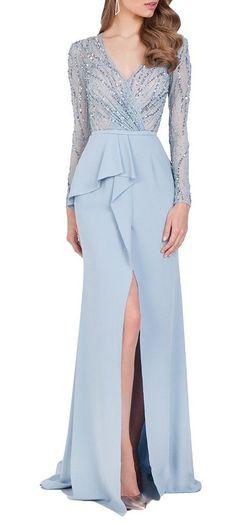 Amazon.com: Ubridal 2016 V Neck Long Sleeves Prom Dresses Side Slit Beading Prom Evening Gown: Clothing