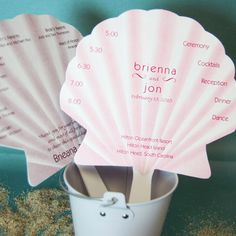 Seashell Wedding Program Fans by Beau-coup...This goes totally perf with my beach theme!!!