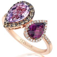 Le Vian 14K Strawberry Gold Raspberry Rhodolite and Cotton Candy Amethyst Ring with .35 Carart