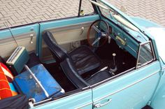Thomas Winther, of Roskilde, Denmark. His Pastel Blue 1961 Type 151 VW Convertible, with a stock 1200 engine.