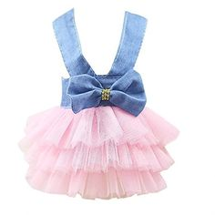 Conwinart Pet Dress,Bubble Skirt Cowboy Dress Party Dog Clothes Tutu Princess Dresses for Pet Costumes Pink White Small Dog Clothes, Puppy Clothes, Dog Wedding Dress, Dog Tutu, Dog Clothes Patterns, Bubble Skirt, Summer Dog, Dog Dresses, Tutu Dresses
