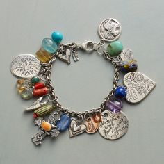 This stunning Jes MaHarry bracelet is bursting with vibrant gemstones and lovely, unique charms. I Love Jewelry, Photo Jewelry, Bohemian Jewelry, Jewelry Shop, Custom Jewelry, Beaded Jewelry, Jewelry Bracelets, Jewelry Making, Unique Jewelry