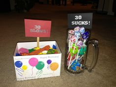 """30th Birthday Gifts! 30 suckers- """"30 Sucks!"""" and 30 balloons- """"30 Blows!"""""""
