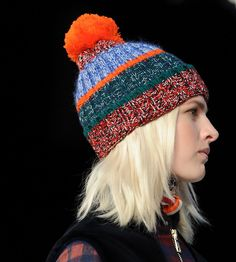 Bobble hats get color blocked in @Tommy ☺ Hilfiger 's #aw14...