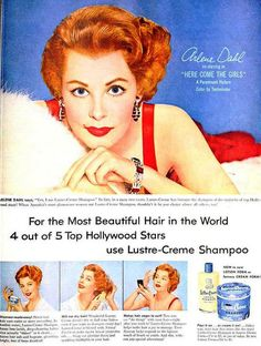 Arlene Dahl for Lustre-Creme Shampoo, October 1953. #vintage #1950s #hair #ads