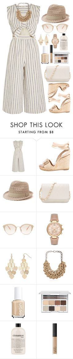 """""""How to wear: Madewell striped cutout jumpsuit."""" by sinesnsingularities ❤ liked on Polyvore featuring Madewell, Kate Spade, Miu Miu, Michael Kors, LC Lauren Conrad, Alienina, Essie, Clinique, philosophy and NARS Cosmetics"""
