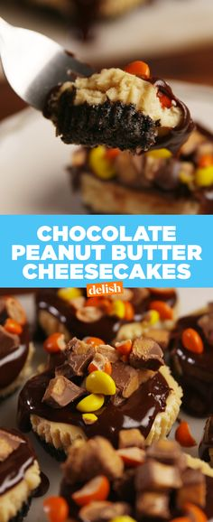 Reese's lovers, you're gonna lose your sh*t over these. Get the recipe at Delish.com. #reeses #peanut #peanutbutter #chocolate #cheesecake #dessert #recipe #easyrecipes