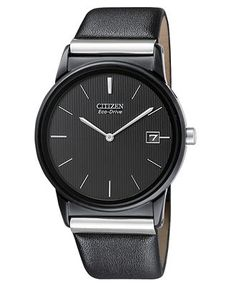 citizen black leather strap