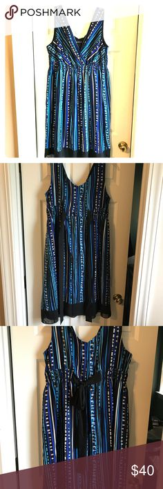 Lane Bryant dress Excellent condition! Blue and black Lane Bryant dress. Zipper on the side, elastic/clinched empire waist with a tie in the back. Knee length Lane Bryant Dresses