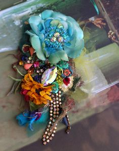 Vintage posy brooch - bold ornate brooch , antique lace, embroidered and beaded brooch, mixed media by FleursBoheme on Etsy https://www.etsy.com/au/listing/588798660/vintage-posy-brooch-bold-ornate-brooch