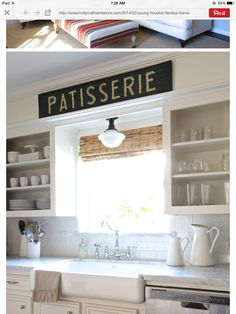 Ledge above cabinets.