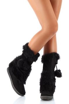 59ae0b346d48 £44.95 Black Winter Fur mukluk style boots. ShoeHorne Shoes