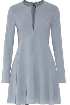 HALSTON HERITAGE Leather-trimmed pleated crepe mini dress. #halstonheritage #cloth #dress