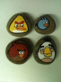 Angry Birds painted stones SNS DESIGNS