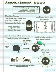 Susuwatari ( bolita peluda) Patrón en castellano e inglés