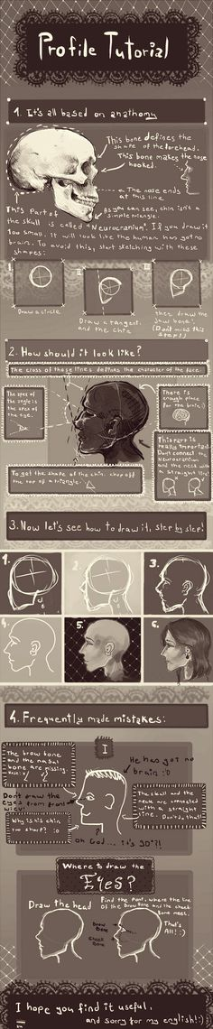 """Profile tutorial by SoundOfRaindrops on deviantART - could be great for the """"two-faced"""" self portrait painting in painting II"""