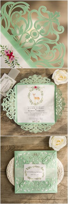 mint green and pink boho themed laser cut wedding invitations with free rsvp cards @elegantwinvites