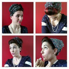 Coiffure pin up rétro avec foulard à retrouver sur le blog http://latelierdefille.canalblog.com/archives/2015/06/07/32182002.html