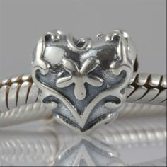 Flower Love Heart Authentic 925 Sterling Silver Charm Floral