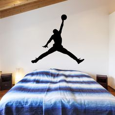 Superb Michael Jordan Jumpman Silhouette Wall Decal Basketball Wall Art Decal Part 30