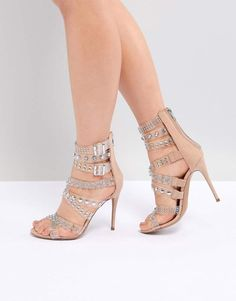 9bae55c505a Steve Madden Moto Embellished Strappy Heeled Sandals at Asos Court Heels