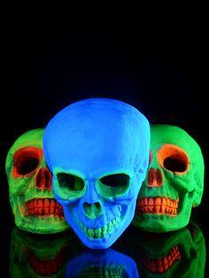 3er-Set PSYWORK XXL Schwarzlicht Deko Schädel   #blacklight #schwarzlicht #halloween #party #deco #glowinthedark #fluo #psy #skull