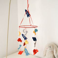 space felt baby cot mobile by lavish + delight | notonthehighstreet.com