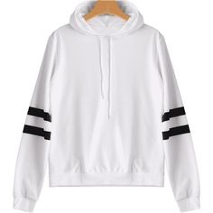 Casual Stripes Panel Hoodie White S (1.315 RUB) ❤ liked on Polyvore featuring tops, hoodies, white hoodies, hooded sweatshirt, white top, striped hoodie and striped top