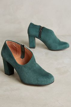 All Black Side-Scoop Booties #anthropologie love love love the green, the bootie, the chunky heel