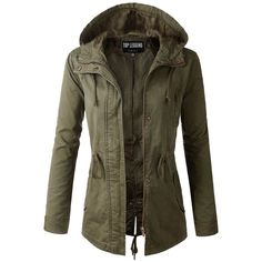 TL Women's Versatile Militray Anorak Parka Hoodie jackets with... ($8.10) ❤ liked on Polyvore featuring outerwear, jackets, parka jacket, drawstring jacket, anorak coat, brown jacket and drawstring parka