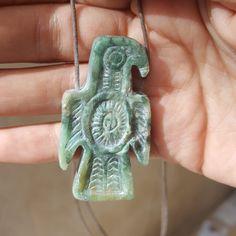 Eagle Necklace, Byzantine Eagle, Chyrsoprase stone carved by Esen Akmaz