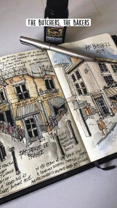 The Butchers, the Bakers - urban sketching
